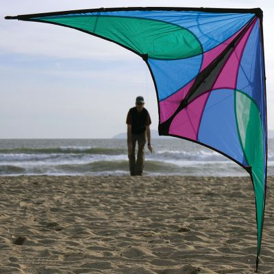 "Camp and Hike Rugged construction and ease of flight makes the Jazz the perfect introduction to sport kiting. The deep-wing profile is stable and forgiving in winds of 5-25 mph. Comes with a carbon/fiberglass frame, 65 ft. of 85-lb. Spectra line, nylon sail, flight straps and a 25"" travel case.Wingspan: 55"".Colors: Spectrum, Ice. - $39.88"