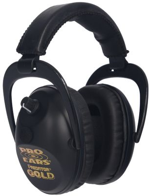 Hunting Lightweight and featuring an NRR of 26db, Pro Ears Predator Gold Muffs offer some of the lowest-profile, ultracomfortable earcups you can buy. Employing both analog and digital technology for premium sound reproduction, this system also uses super-conductive gold connectors to lower impedance and optimize sound quality. Exclusive DLSC technology intercepts and mitigates loud noises such as gunshots in just 1.5 milliseconds, and you can adjust the industry-leading amplification to suit your personal enhancement needs. While most electronic hearing protectors use a single circuit board, this system has two military-grade boards. In the unlikely event that one board would become damaged or disabled, the other will still perform as needed, while lesser single-board systems would be completely shut down. An eight-bit microprocessor runs continuous diagnostics on all critical components to ensure optimal performance. Visco-elastic foam teams with Pro Form leather to make the earcups ultracomfortable while keeping a tight seal. Youll find you can wear this ear-protecting system far longer than other systems because of these comfort-enhancing features. An LED in the earcup tells you the system is operating, and an audible low-battery alert warns you well in advance of power failure so you have ample time to change batteries. The system also includes a 3.5mm jack so you can plug in a music player, motor sports scanner or radio and enjoy quality music or audio. Five-year manufacturers warranty. Made in USA. Wt: 9.3 oz. Colors/camo patterns: Black, Green, Neon Green, Pink, Pink Zebra, Skulls, Realtree AP Snow, Realtree MAX-4, - $299.99