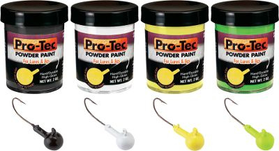 Fishing Pro-Tec Powder Paint is quick and easy to use. Simply heat your jig or lure and dip it in the powder. The powder will immediately melt on contact and bond to the metal for a smooth, even, high-gloss finish. There's no drying time, no odor, no solvents, no mess, no mixing, no thinning. Environmentally safe, it has an indefinite shelf life. Assortment includes 2-oz. each of the following.Colors: Black, White, Yellow Chartreuse, Green Chartreuse. Type: Paint. - $19.99