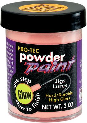 Fishing This of paint produces a true-color afterglow that will last up to 16 hours between light recharges. It also glows up to five times brighter than some other glow paints. Super Glow is both easy to apply and very durable for lasting, fish-luring performance. Just heat jig or lure and dip it for an instant in the powder for an even, high-gloss, no-mess finish. Comes in 2-ounce containers. Colors: Yellow, Red, White, Green, Blue, Orange. Color: Orange. - $8.99