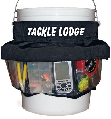 Fishing Turn your 5- or 6-gallon pail into a tackle carrier and organizer. The Tackle Lodge attaches easily and has a skirt covering the top that protects pocket contents from dirt and snow. Large clear pockets allow easy viewing. Made in USA. Color: Clear. Type: Ice Fishing Accessories. - $29.88