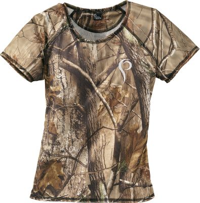 Hunting Pris hunting garments for women combine technical hunting components, functional fabrics and an athletic composition with patterns cut for the female form. Made of moisture-wicking polyester, this tee is soft, yet durable enough to withstand the rigors of a rough day in the field. If you are longer-waisted or desire additional length to tuck shirt in, the manufacturer advises purchasing a size larger. Made in USA. Sizes: XS-XL. Camo patterns: Black, Realtree AP, Realtree MAX-1. Size: Large. Color: Black. Gender: Female. Age Group: Adult. Pattern: Camo. Material: Polyester. Type: Short-Sleeve Shirts. - $39.99