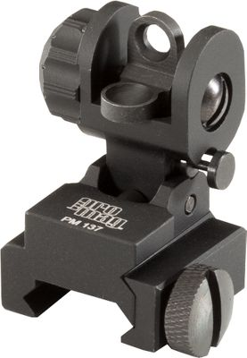 Hunting Increase the versatility of your AR-15/M16 by adding these front and rear flip-up sights. Precision machined to fit flat-top A3 upper receivers. Available: AR-15/M16 Flip-Up Dual-Aperture Rear SightServes double duty as a co-witness iron sight with most red-dot and holographic sights or as a stand-alone sight. Standard military A2-style double-peep aperture allows for known point of impact. Low profile ensures it clears most optics in the down position. Sight locks securely in upright position. Set initial zero by adjusting the weapons front sight post. Mount to rail via a locking bar and secure with a cross-slotted, knurled thumb screw. Type-III hard-anodized, T6 aircraft-grade aluminum body and stem. Full windage adjustment. Dimensions: 8.75L x 3.5W x 2H.Weight: 3.5 oz. AR-15/M16 Flip-Up Rail-Mount Front Sight Folds up and toward the shooter to deploy. Spring-loaded plunger locks the sight in the up position. Depress the plunger to fold the sight to the down position. Precision machined to fit tactical forearms meeting MIL-STD 1913 Picatinny rail specifications. Mount to rail via a locking bar and secure with a cross-slotted, knurled thumb screw. Machined from Type-III anodized, T6 aircraft-grade aluminum. HK-style curved protective ears. No permanent modification required. All hardware included. Dimensions: 8.5L x 3.25W x 1.75H.Weight: 3.3 oz. - $79.99