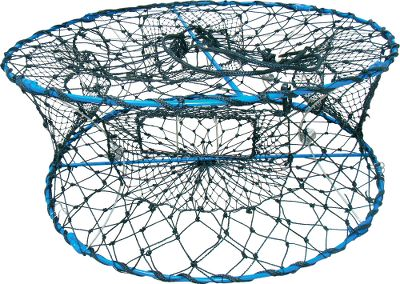 Fishing Hassle-free portability and space-saving convenience for crabbers in a hurry. It collapses from 12 down to 1-1/2 high so you can carry more traps in less space. PVC-coated steel wire construction with heavy-duty black polyester netting. Four entrance tunnels with trap gates prevent large crabs from escaping. Two escape rings free smaller crabs. Dimensions: 32 W x 12 H. Color: Black. Gender: Male. Age Group: Adult. - $54.99