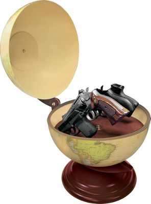 Conceal your handguns in a place where thieves wont think to look. Decorative globe opens at the equator, revealing access to up to four handguns and other valuables. Four adjustable vinyl-coated rods hold guns securely for quick access. Beautiful dark cherry-finish wood stand adds to the authentic look. Some assembly required. This globe does not lock.Inside diameter:12. - $129.99