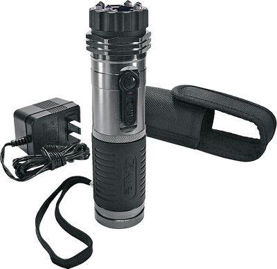 Both practical and reassuring, this bright and powerful flashlight/stun gun combo does double duty. Six powerful LEDs cast a bright beam to light your way or they can daze a potential attacker as you walk through a campground, parking or remote area at night. If a would-be assailant threatens and approaches you, the front of the light houses a potent punch in the form of a 1,000,000-volt stun gun. This rechargeable unit comes with a wall outlet charger, sturdy nylon case with belt clip and wrist strap. - $59.99