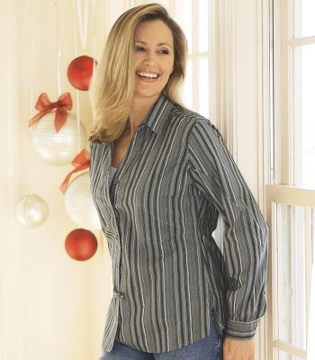 Some shirts take all the hard work out of looking good. You can certainly say that about this one. It's crafted of a comfortable cotton/spandex blend with a hint of stretch. Dart accents give it a feminine tailored fit. Imported. Due to limited quantities, current stock will be checked when you add an item to your basket. - $9.88