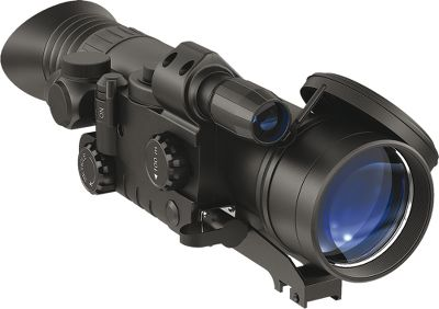 Hunting A full-featured nightvision scope with a lightweight, extremely durable titanium body. It has a two-color rangefinding reticle for long-range precision, image-perfecting internal focusing and Pulsars CF-Super Image Intensifier Tube for supreme edge-to-edge resolution. Corded remote control included. Requires two AA batteries (included). Due to popular demand from our varmint-hunting customers, we have found some of the best nightvision riflescopes available. Cabelas does not condone the use of these products for illegally taking big-game animals after legal shooting hours. Check local game laws for legality in your area. Color: Titanium. Type: Night Vision Riflescopes. - $899.99