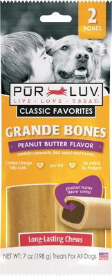 Hunting Long-lasting, tasty and nutritious treats your pet will love. Low in fat, they contain essential omega fatty acids and improve the overall dental health of your pet. Ideally sized for your medium to large dog. Per 2. Available: Peanut Butter - Contains peanuts, flax seed and honey. Bacon - Contains tomatoes, carrots and flax seed. Type: Dog Treats. - $3.99