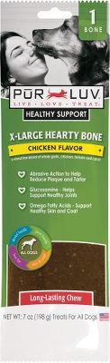 Hunting Pur Luv Healthy Support Chew Bones provide more than just a tasty way to treat your dog each treat combines multiple benefits with important ingredients to improve the healthy lifestyle of your pet. Wheat-free blend of whole grains, chicken, tomato and carrot.Available: Pur Luv Healthy Support Chew Bones Per 2 Pur Luv Healthy Support Extra-Large Hearty Chew Bone Per each Type: Dog Treats. Size Large 2pk. - $3.88