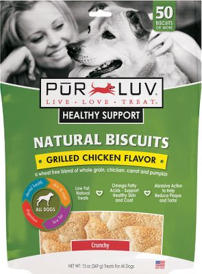 Hunting Pur Luv Healthy Support Natural Biscuits provide more than just a tasty way to treat your dog -- each treat combines multiple benefits with important ingredients to improve the healthy lifestyle of your pet.Available: Size: 13-oz. bag (50 biscuits). Pur Love Healthy Support Chicken Biscuits -- Wheat-free blend of whole grains, chicken, carrot and pumpkin. Pur Love Healthy Support Peanut Butter Biscuits -- Wheat-free blend of whole grains, carrot, pumpkin and peanuts. - $3.88