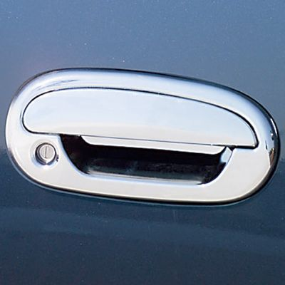 Motorsports You'll be amazed by how much these four-door chrome accents enhance the appearance of your truck or SUV, and by how easy they are to apply. The finish perfectly matches OEM chrome, and each custom-fit piece is backed by pre-applied 3M tape for fast, simple installation. The kit includes accents for door-handle frames and door handles.Passenger key hole will be covered with insert. - $9.88