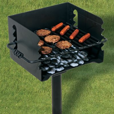Camp and Hike Bring the fun of park-style cooking into your backyard. Made of durable steel, this grill is just like the ones used in public parks and campgrounds. Coiled steel bar grips on each side make grate adjustments easy. Fully finished with high-temperature black enamel paint. 224-sq.-in. cooking surface. Firebox dimensions: 10 H x 16 W x 14 D. Color: Charcoal. - $159.99