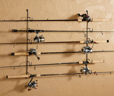 Fishing This horizontal wall rack holds up to six rod and reel combos. It features heavy-duty steel wire construction with soft-rubber coating for long-lasting use. Versatile two-piece design fits any wall while allowing for staggered storage to keep combos rigged and ready to use. Dimensions: 29H x 4D. Size: 6 ROD. Color: Black. - $17.99