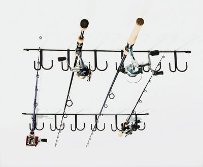Fishing Space-saving design mounts to your ceiling and holds up to 12 rod and reel combos. Vinyl-coated steel construction. - $26.99