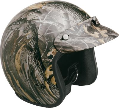 "Hunting No one should ride an ATV without the added protection of a helmet. This Open-Face version is available in adult sizes only. Made with lightweight, thermoplastic shells. Open-Face helmets have snap-off visors, full rubber bead trim and D-ring fasteners. Department of Transportation approved. Camo pattern: Realtree Hardwoods HD Grey. Type: Helmets. Helmet Size: X-Large. Head Circumference: 24-1/4"". Size X-Large. - $39.88"