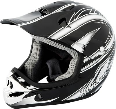 Motorsports Made with lightweight, thermoplastic shells, these helmets are Department of Transportation approved. Full-Face helmets have nonslip goggle-strap holders and graphics. Size: 2XL. Color: Silver. - $42.88
