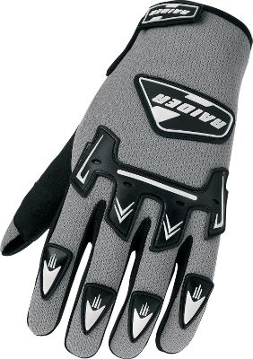Motorsports These riding gloves feature cool mesh for breathable comfort on the trail. Suede palms for dexterity and a nonslip grip. Padded backs for protection. Custom-fitting Velcro wrist closures. Imported. Adult sizes: S-2XL.Youth sizes: M-L.Color: Silver. - $9.88