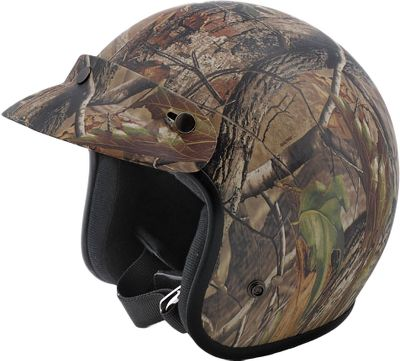 Hunting Approved by the Department of Transportation, this helmets lightweight thermoplastic shell wont weigh your head down during the action. The quilted crown pad and ear pockets deliver maximum comfort and protection. Removable, triple-snap visor keeps sun out of eyes. Full rubber bead trim. Chin strap with D-ring fasteners. Sizes: S-2XL. Camo: Realtree APG. Size: M. Color: Camo. - $35.88