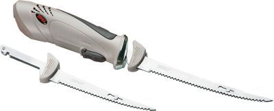 Fishing Make filleting fish less of a chore with this electric fillet knife. Operating on either 12-volt DC or 110-volt AC power, the Rapala Guide Fillet Knife works wherever you may be - the boat, campsite or at home. An ultra-quiet, long-lasting motor housed in a comfortable, fatigue-reducing, relaxed-grip molded body with an Advanced Air Flow design to reduce heat build-up make this knife a joy to use. Comes complete with an extra-long 18-ft. power cord, 6 and 7-1/2 hand-ground stainless steel blades, 12-volt power cord with battery post clips, 110-volt AC power cord and travel case. Color: Stainless Steel. - $69.99