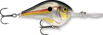 Fishing Rapalas Dives-To Crankbait dives to specific depth zones to target fish-holding structure. Constructed of premium balsa wood for buoyancy and precise action. The extra-thin polycarbonate lip dives instantly while producing a bite-enticing action. Razor-sharp VMC black-nickel hooks set with little effort. Available in classic Rapala patterns, as well as Ikes custom color patterns designed by B.A.S.S. Elite Series Pro Mike Iaconelli. Per each. Sizes: DT04 2, 5/16 oz., dives to 4 ft. DT06 2, 3/8 oz., dives to 6 ft. DT10 2-1/4, 3/5 oz., dives to 10 ft. DT14 2-3/4, 3/4 oz., dives to 14 ft. Traditional colors: (010)Shad, (021)Firetiger, (077)Bluegill, (228)Dark Brown/Craw, (232)Parrot, (340)Red Crawdad, (351)Baby Bass, (355)Live Largemouth Bass*, (447)Delta, (526)Mossy, (567)Live Bluegill*, (581)Live Pumpkinseed*, (598)Live River Shad*, (928)Blaze, (998)Silver. Ikes custom colors: (126)Girlfriend, (140)Mule, (157)Rasta, (555)Demon. *Custom HD Precise High-Definition Replicas. Color: Dark Brown. Type: Crankbaits. - $7.49
