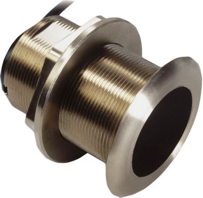Motorsports Thru-hull transducer with 20 tilt fits fiberglass and wood vessels with a hull deadrise of 16 to 24. Dual-frequency of 50/200 kHz with depth and temperature sensors. 600-watt maximum power. Color: Bronze. Type: Big Boat Electronics. - $299.99