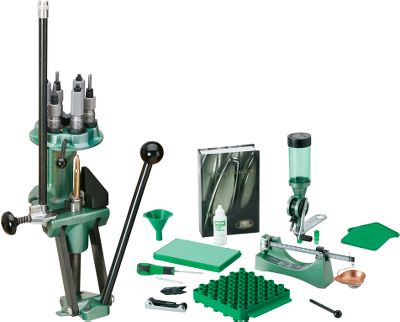 Save money by getting everything you need to start reloading in one bundle with the RCBS Turret Deluxe Reloading Kit that includes the RCBS Turret Press, Uniflow Powder Measure, M500 Reloading Scale, case lube kit, a .17- to .60-cal. deburring tool, universal case-loading block, primer tray, powder funnel, fold-up hex-key wrench set and Nosler #7 reloading manual. RCBS Turret Press can be operated in either progressive or single-stage mode. Heavy-duty cast-iron construction. Six stations on the turret head have 7/8-14 threads to accommodate most reloading dies and offer flexibility in the mounting sequence of dies and powder measure. A detent ensures positive alignment. The turret head is held in place by one bolt, allowing quick, easy changeovers. The ball handle can be positioned for right- or left-hand use, and theres a primer catcher that snaps off for convenient disposal. Primer plugs and sleeves are included for seating large and small primers. M500 Reloading Scale features a proven two-poise design that lets you weigh up to 505 gr. with 0.1-gr. accuracy, as well as a magnetic dampening system for fast readings and maintenance-free movement. Tip-proof, ambidextrous metal pan makes loading simple, while the rugged die-cast metal base features a grain-to-gram conversion table to help with calculations and recipe conversions. Leveling foot ensures pinpoint accuracy. Uniflow Powder Measure has an adjustable cylinder, throwing from 10 grains to 110 grains of powder. Pours uniformly from measuring cylinder into case, eliminating clogging. Changes easily from charge to charge without emptying powder hopper. Accurately measures all three major powder types ball, cylindrical and flake. Type: Reloading Kits. - $489.99