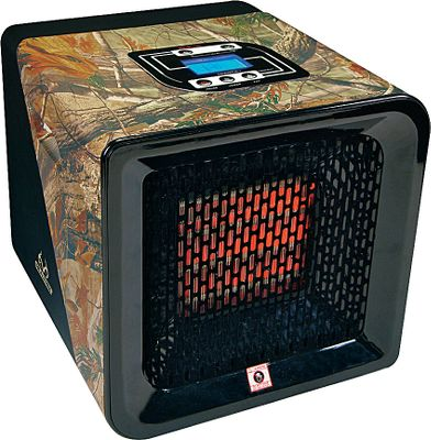 Skateboard Compact, camo indoor heater delivers heat coverage up to 1,000 square feet. A powerful, ceramic infrared heating element produces heat, while an adjustable two-speed fan radiates warmth over a large area. Integrated LCD screen with touch-button operation displays thermostat with actual and desired temperatures. Safe to Touch design with automatic tip-over protection. 1,500-watt/120-volt system. Lifetime limited warranty on ceramic heating element.Dimensions: 10H x 11.5W x 11.5D.Weight: 11 lbs.Camo pattern: Realtree. - $199.99