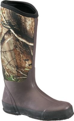 Hunting Stay dry and warm with these pull-on brown rubber boots from Realtree. The 15 shaft keeps mud and debris on the outside of your boots where they belong. The 100% waterproof neoprene uppers shed moisture and stay flexible in a wide range of temperatures. Rugged rubber outsoles with a nonslip tread. Removable footsbeds. Imported.Height: 15. Average weight: 3.8 lbs/pair. Mens whole sizes: 8-13. Camo pattern: Realtree AP. - $49.99