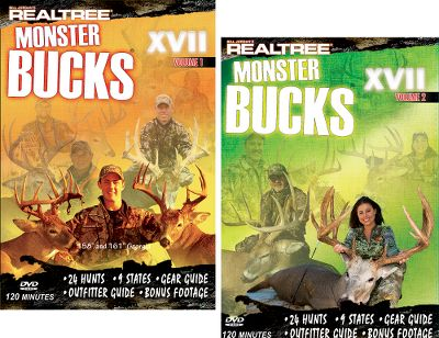 "Hunting Watch some of the best big-buck footage ever produced in these action-packed DVD combos. Available:Monster Bucks XVII Combo In Monster Bucks XVII Volume 1, tag along for 24 great hunts from nine different states. See some of the biggest bucks taken in 2008 including 158'' and 161'' monsters harvested in Georgia. This DVD includes a gear guide, outfitter guide plus bonus footage. In Monster Bucks XVII Volume 2 catch up with the crew as they travel to Alberta with Ned Yost, to Texas with country music star Miranda Lambert, to Montana with Gregg Ritz, and to Iowa with Tiffany Lakosky, not to mention trips to nine additional monster-buck states. You'll see 22 action-packed hunts, including 12 bow hunts, six rifle hunts and four muzzleloader hunts that include some of the best whitetail footage to date.46 hunts over 240 minutes. DVD.Monster Bucks XVIII Vol. 1 and 2 Combo takes you on a fun-filled trip with Team Realtree you on their quest for monster deer. Hang onto your hat as breathtaking 150""- and 160""-class monsters close the distance and meet their maker! 240 minutes. DVD. - $23.98"