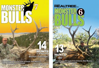 "Hunting Monster Bulls 6 takes you on 13 awesome elk hunts from Arizona to New Mexico, Utah, Wyoming and Colorado. Watch Michael Waddell arrow an unbelievable 387"" bull. Also, Tyler Jordan takes his first elk ever on this 100-minute DVD. Monster Bulls 7 has more big, screaming bulls than ever. You'll be in the heart of the best elk hunting in the country. See 14 awesome elk hunts, 11 of them bowhunts, from Arizona, New Mexico, Utah, Wyoming and Colorado. This 80-minute DVD includes bonus footage of Jeff Foxworthy's Northwest Territories Dall sheep adventure. Monster Bulls 8 features more than a dozen awesome elk hunts from all over the mountain states. 80 minutes. DVD.Available:Monster Bulls 6 and 7 Combo A combined 180 minutes of hunting excitement.Monster Bulls 7 and 8 Combo 160 minutes of fantastic elk hunting. - $19.99"