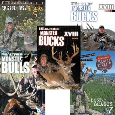 Hunting Get all the new Team Realtree DVDs in one package. Includes: Monster Bulls 8, Whitetail Freaks 5, Road Trips Vol. 7 and Monster Bucks XVIII Vol. 1 and 2. - $59.98