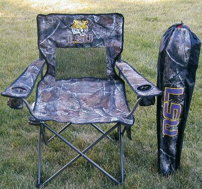 Camp and Hike Show your passion for the outdoors and your favorite university with a camouflage collegiate chair. The roomy 23 x 23 seat and cupholder armrests keep you comfy wherever life takes you. Realtree AP camo fabric with collegiate logos on the front, back and carry bag. Double-layer fabric in seat with mesh backing for increased airflow. 300-lb. weight rating. Constructed of 600-denier polyester with PVC coating. Imported. Overall height: 36.Weight: 8 lbs.Available: Alabama, Auburn, Clemson, Florida, Georgia, Iowa, LSU, Mississippi, Mississippi State, Nebraska, South Carolina, Southern Miss, Tennessee, Texas AM, West Virginia. Type: Camp Chairs. Style Lsu. - $49.99