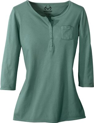 Hunting A fashionable way to blend in with the outdoor crowd or make a brightly colored statement of your own. Sporting 3/4-length sleeves and a wide crew neck, this fun tee is crafted of soft, easy-to-care-for, garment-dyed 100% cotton jersery. Machine washable. Imported.Sizes: S-XL.Colors/camo pattern: Blue Moon, Fatigue, Raspberry, Realtree MAX-1. - $9.88