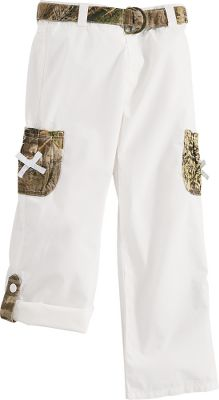 Hunting On-seam buttons and hidden tabs convert these super-cute cargo pants into warm-weather capris. Accented with Advantage MAX-1 pockets and bows for eye-catching, outdoor-inspired flair. Lightweight, 100% cotton poplin for softness and comfort. Adjustable waist with a camo belt. Imported.Sizes: 7, 8, 10, 12.Colors: White, Pink, Khaki. - $9.88
