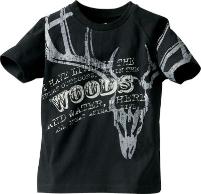 Hunting The funky graphics and bold text on this cotton tee will appeal to any young hunter. Machine washable. Imported.Sizes: XS-2XL. Color: Black. - $7.88