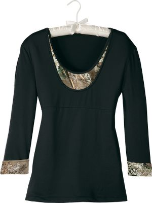 Hunting Cut for premium sleeping comfort, this 3/4-sleeve V-neck top is accented with lace at the neckline. Made of a polyester/spandex blend for silky softness with stretch. Imported.Sizes: S-2XL.Camo patterns: Realtree APC (Pink), Realtree MAX-1 (shown). - $24.88
