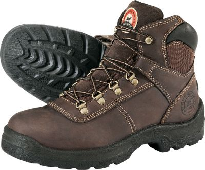 Camp and Hike Now you can enjoy all lightweight cushioning and support of performance hikers and the rock-solid dependability Irish Setter is famous for in these hardworking, affordably priced boots. Resilient dual-density soles like those used in high-end hikers flex and absorb shock for all-day comfort. Direct-attach construction further reduces weight while maintaining durability. The polyurethane footbeds add even more cushioning and can be removed for quick drying. Full-grain Crazy Horse leather uppers are triple-needle stitched to ensure theyll stand up to wear and abuse. Imported. Height: 6. Average weight: 3.2 lbs./pair.Mens sizes: 8-14 D width, 9-13 EE width. Half sizes to 12. Type: Work Boots. Size: 10. Shoe Width: D. Color: Brown. Size 10. Width D. Color Brown. - $54.88