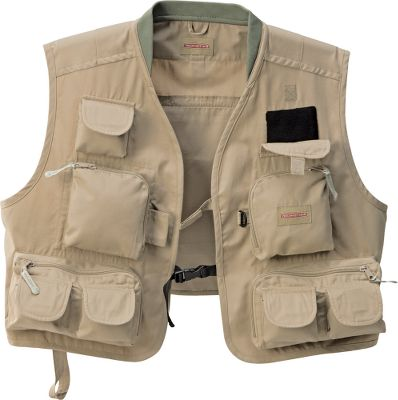 Flyfishing Classic vest with plenty of pockets to store your gear. Nine external zip-close and Velcro pockets keep you organized. Three interior pockets. Large rear zip-close pocket. Fleece fly keeper. Comfortable knitted collar. 65/35 polyester/cotton. Imported. Sizes: S/M, L/XL, 2XL/3XL. Color: Tan. Size: BLACKFOOT VT 2XL. Color: Tan. Material: Polyester. Type: Vests. - $39.95