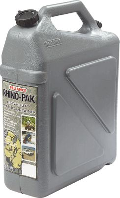 Camp and Hike Made of extra-thick plastic for high-impact durability, this 5-1/2-gallon jug has a stackable side-panel design that mates with identical Rhino Jugs. Its easy to secure and strap down on ATVracks and boats, or stack in cars. Premium-quality spigot and vent cap. Imported. Weight: 3.5 lbs. Dimensions: 14.6L x 6W x 19.3H. Color: Gray. Type: Water Jugs. - $24.99