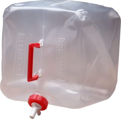 Camp and Hike The high-grade polyethylene in the Fold-A-Carrier is flexible even in extreme cold. The large neck opening is designed for easy filling or adding ice cubes, or juice mixes. And the spigot design has an easy-pour, on/off feature. Available: 2.5 gallon - 10L x 4W x 12.5H 5 gallon - 13.5L x 13W x 12.5H Size: 5 GALLON. - $14.99