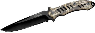 Camp and Hike Remingtons fast-action opening, soft-touch handle (F.A.S.T.) pocket folders are so popular, Remington is offering fixed-blade knives with the same rugged performance and many of the same construction features. Perfect for hunters, they feature anodized-aluminum scale handles with a rubberized coating riveted to solid, one-piece 3.9mm-thick tangs with lanyard holes. They are easy to grip in any weather. The semi-serrated, 440 stainless steel blades sport bead-blasted finishes. Each comes with a heavy-duty, black nylon sheath with a handy belt loop.Blade length: 5-3/8. Overall length: 10-1/2. Weight: 12 oz.Handle Colors: Matte Black, Mossy Oak Blaze. - $20.88