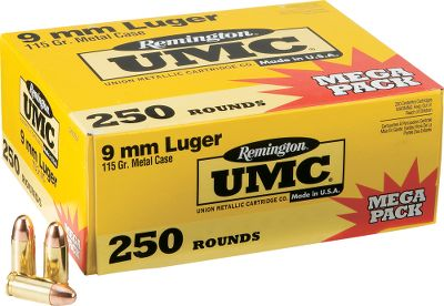 Guns and Military If the box has Remingtons name on it, you know its ammo you can count on. Plus, UMC brings 140 years of design innovation and manufacturing excellence to shooting enthusiasts for dependable results. These centerfire semiautomatic pistol cartridges are great for practice, target shooting and training exercises. This convenient range-ready 250-round value pack is handier that carrying five 50-round boxes to practice sessions so you can spend more time pulling the trigger and less time sorting boxes. At these prices, they present you with the optimum blend of value and performance. Per 250. Type: Centerfire Handgun. - $69.99