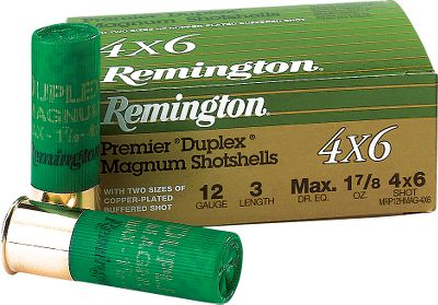Hunting Remington's Premier Duplex Copper-plated Magnums combine the patterning of No. 6 shot with the heavy-hitting power of 4's in the same shell. The copper-plated lead resists deformation and adds penetration on impact. 10 rounds per box. - $14.99