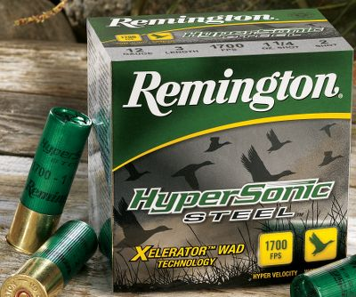 Hunting Hammer fast-moving targets at 1,700 fps (12 ga.) with the fastest steel on the market. It shortens leads by up to 8 at 40 yards, knocking down more birds and fewer tail feathers. Its increased velocity delivers the speed you need to get in front of ducks and geese and puts more pellets in vital areas, like the head and neck, without affecting how you normally aim. Remington harnessed two-stage ignition technology to safely accelerate full-shot payloads to hypersonic speed. Its newly designed primer starts by lighting a smaller powder charge, which moves the payload forward to safely manage the pressure of the primary powder charge. During primary charge ignition, its exclusive Xelerator wad delivers tighter downrange patterns and improved long-range hit potential. 25 shells per box. Per box. Type: Steel. - $21.99