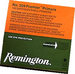 Hunting Remington 209 primers are regarded as some of the best by both muzzleloaders and shotgunners. Features like a superb fit between the battery cup and the priming cup (fit held to three decimal places for consistent performance), a consistent priming mixture for standard performance over a wide variety of reloads, a foil covered flash hole that prevents powder intrusion and an anvil that is made from cartridge bass for strength and is 100 percent inspected during manufacturer make it well respected and sought after by top competitors. Per 1,000. - $44.19