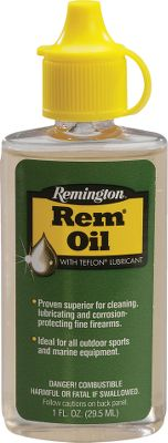 Keep your firearm working smoothly at all times with Remington's versatile Rem Oil. Their formula cleans away dirt and grime and also diplaces moisture for rust and corrosionproof protection. The exclusive Teflon formula provides a lubricating film, reducing metal-to-metal wear, keeping your action working smoothly. Available: 1-oz. bottle 10-oz. aerosol can Color: Rust. Type: Lubes. - $2.99