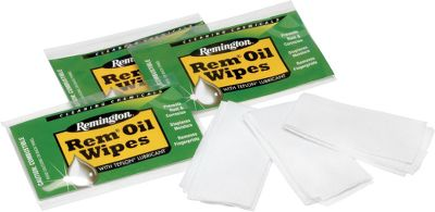 Rem Oil cleans, protects and lubricates metal parts in firearms and other fine mechanical equipment. Exclusive Teflon formula provides a thin, long-lasting film that reduces metal-to-metal wear. Individually wrapped wipes are perfect for field and range use. Pack contains 12 individually foil-wrapped 6 x 8 wipes. - $5.99