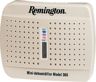 Remove moisture in any enclosed space, like your gun cabinet or safe, with Remington's Mini-Dehumidifier. Uses colorless, odorless nontoxic Water Glass crystals to constantly absorb moisture from the air. Every 30-60 days, the indicator window will turn pink when the unit needs regeneration. Simply plug it in to a standard electrical outlet for 10-12 hours, and the indicator window will turn blue when it's recharged and ready to go again. The average life span is approximately 10 years. - $23.88