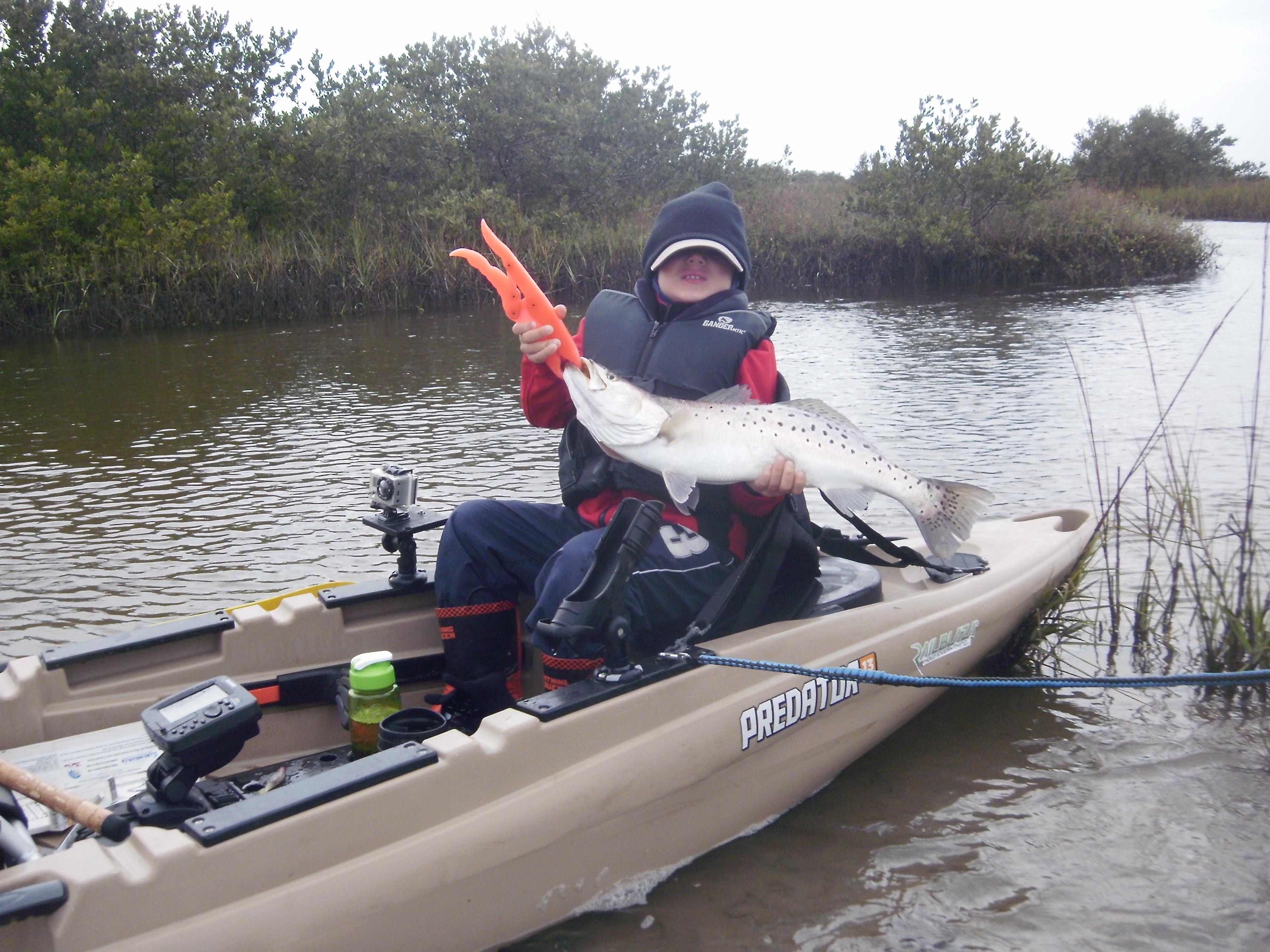 Great fishing trip with my son miguel pandich kayak o for Predator fishing kayak